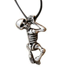 """Metal SKELETON Necklace 1.25"""" x 0.75"""" with 18"""" Rope Chain Skull"""