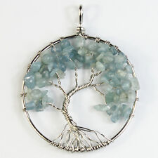 Natural Aquamarine Chip Beads Tree of Life Silver Round Pendant For Necklace
