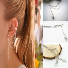 Newly Women Silver Leaf Tassels Cartilage Ear Clip Punk Rock Stud Earrings Gifts