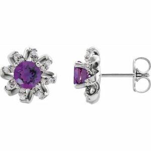 Amethyst & 1/6 CTW Diamond Halo-Style Earrings In Sterling Silver