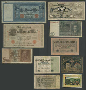 Lot of 10 Misc. GERMAN GERMANY WWII AND EARLIER CURRENCY Circulated Condition