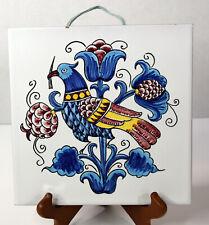 "8"" Hand Painted Italian Ceramic Tile Wall Art Decor Bird Flowers Coat Of Arms"