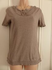 All Saints size 0 (UK 6 ish) brown short sleeved scoop neck top buttons on chest