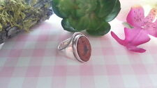 Beautiful Vintage Orange Coral Gems Ring 925 Sterling Silver *Size 7.5 *A889
