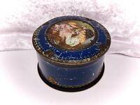Vintage Biscuit Tin/Advertising-Mcvitie & Price-Small Gold/Blue Round-Children