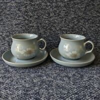 Pair of Denby Blue Dawn Tea Cups and Saucers Blue Floral Design New Unboxed