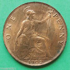 1902 Edward VII Penny A/UNC SNo24845