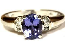 14k white gold .12ct SI2 H womens diamond tanzanite ring 3.4g estate vintage