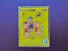 Disney Postage Stamp Pin THREE LITTLE PIGS Wolf Sierra Leone Le3 Mark Twain EUC!