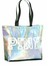 Victoria's Secret PINK Logo Iridescent Silver Reusable Shoulder Big Tote Bag NWT