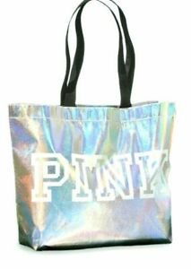 Victoria's Secret PINK Logo Iridescent Silver Reusable Shoulder Big Tote Bag NWT