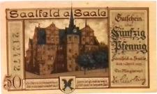 1921 Germany SAALFELD a SAALE 50 Phennig Notgeld / Banknote UNC