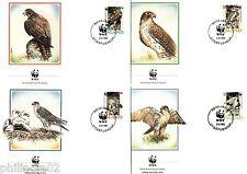 Iceland 1992 WWF Gyrfalcon Birds of Prey Wildlife Animal Sc 762-65 Set of 4 FDC
