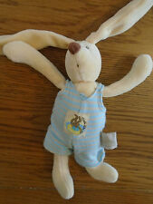 Moulin Roty rabbit with blue stripe romper. Rattle. Approx 8in.