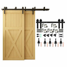 5-20Ft Bypass Sliding Barn Door Hardware Kit For Double Door Closet Track Roller
