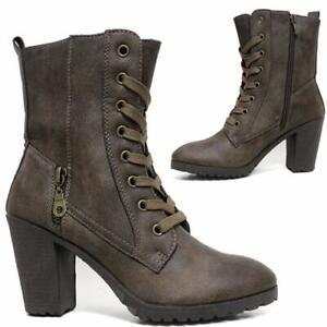 Ladies Desert Boots Womens Ankle Mid Block Heel Chelsea Combat Walking Shoes