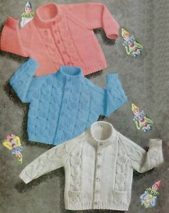 Baby DK Knitting Pattern Cable Cardigan and Sweater  Sizes 19-21 inches #165