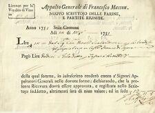 Licenza Appalto Vendita Vino Francesco Masson Castelfranco di Sopra Firenze 1751