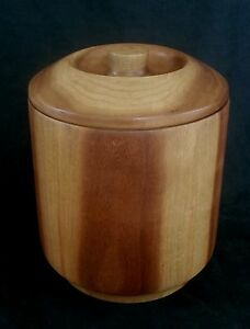 Vintage Midcentury Danish modern Teak wood bucket with lid 9 inches