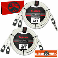 """2-Pack Kirlin 6 ft 1/4"""" TS Mono Male to Dual Female Y Splitter Patch Cable NEW"""