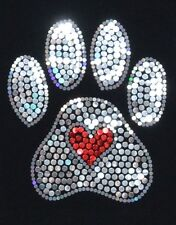 Paw Bling Sequins No rhinestones transfer Iron On Hot fix applique