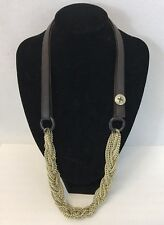Fossil Brand Chunky Gold Tone Chain & Brown Leather Necklace