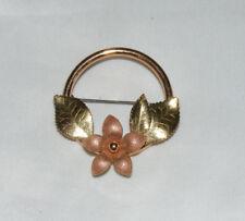KREMENTZ Vintage 14K Gold Overlay Round Flower Leaves Brooch Pin A1