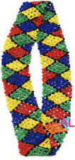 "1"" Woven Headband Stretch Seed Bead Primary Colors Indian Hippie style Hatband"