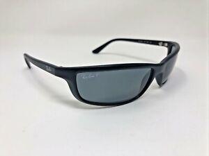 Ray-Ban Sunglasses Polished Black Wrap Polarized Blue RB4034 601-S/81 CW39