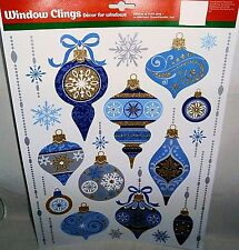 Christmas Window Clings CHRISTMAS ORNAMENTS  W/GLITTER