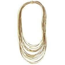NEW Boho Glam Brown Beige Cord Gold Tone Tube Bead Chic Multi Layered Necklace