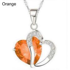 Plata y Cristal Gruesa Collar de Corazón en Naranja ** Vendedor Reino Unido ** Regalo Presente