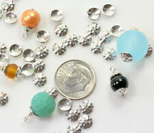 Hammered Bead Caps, 6mm, TierraCast, Rhodium Plated Pewter, 10 Pieces 6161