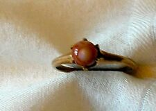 Vintage Ladies Gold Ring With Coral Gem Stone Size 8 1/2  era 1885?