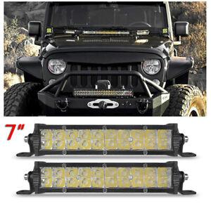 2Pcs 7inch LED Work Light Bar Spot Flood Combo Fog Driving OFFROAD TRUCK SUV ATV