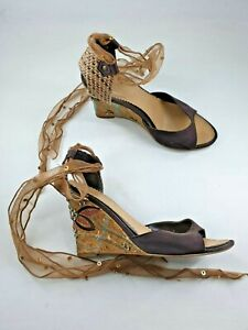 Atmosphere size 3 (36) brown faux leather satin hessian ribbon lace wedge heels
