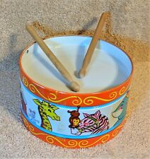 "J. CHEIN & COMPANY Vintage 6"" TIN DRUM with DRUMSTICKS - Circus Animals"