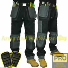 Mens Work Trouser Tuff Multi/Knee Pocket Pants Triple Stitched + FREE KNEE PADS