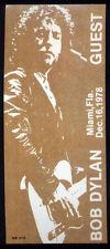 BOB DYLAN REPRO 1978 MIAMI 16 DEC CONCERT GUEST BACKSTAGE PASS STICKER