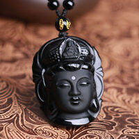 Obsidian Carved Kwan-yin pendant energy Unisex rope 100% Rainbow healing Women