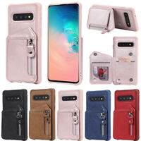 Zipper Leather Card Holder Wallet Back Cover Case For Samsung S20 S10 S9 S8 Plus