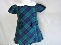 Baby Girls Dress Green Tartan Spanish Romany Style Shift dress 3 month - 6 year