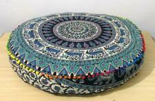 Pouffe Indian Animal Print Mandala Design Round Floor Cushion Cover Cotton Art