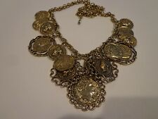 VINTAGE FAUX COIN CHARM NECKLACE 23 IN