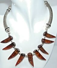 Hand Painted Carnelian Necklace Real Sterling Silver Statement Jewellery One-Off