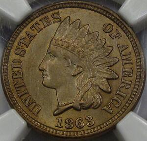 1863 Indian Head Cent Choice BU NGC MS-63... So Very Nice, Very PQ and Flashy!!!