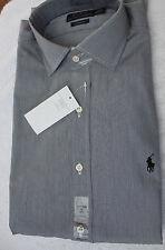 Hemd - Gr.40/41 US 16 Herren Ralph Lauren schwarz-weiß (grau) Streifen - Neuware