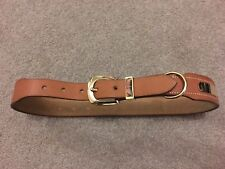 Vintage Womens Waist Hermes Gold Buckle Tan / Brown Leather Belt Size 70