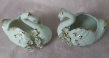 More details for two rare vintage porcelain white  swan ornaments