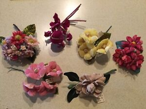 Vintage Millinery Velvet Silk Flowers Corsage/Hat Pin Craft Lot/6